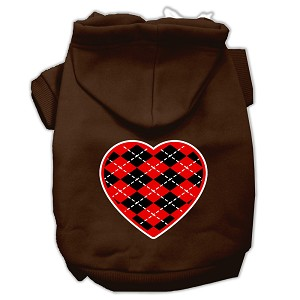 Argyle Heart Red Screen Print Pet Hoodies Brown Size XXXL (20)